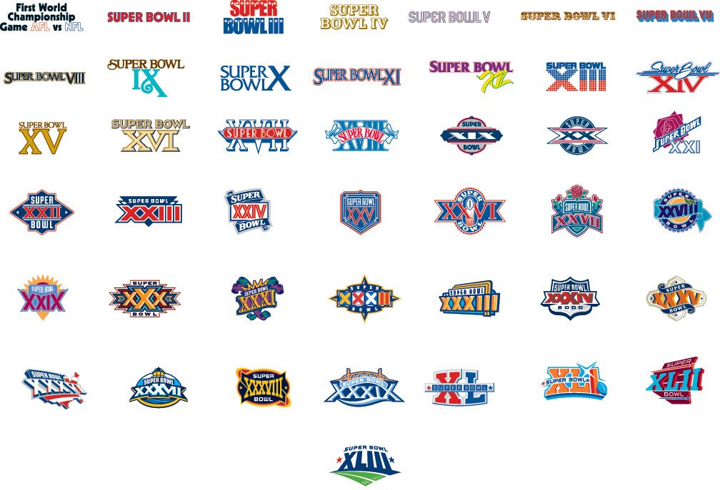 Came across this browsing NYT, its every Superbowl logo!