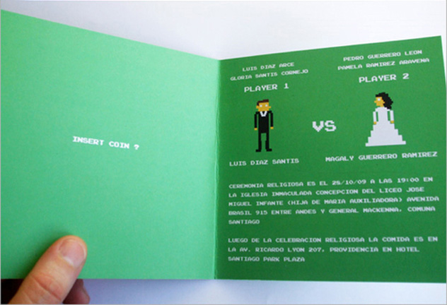 Really cool 8bit wedding card bifuteki